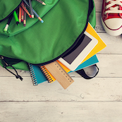 stock photography of books in a bookbag