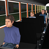 Virtual Reality image of students on a bus